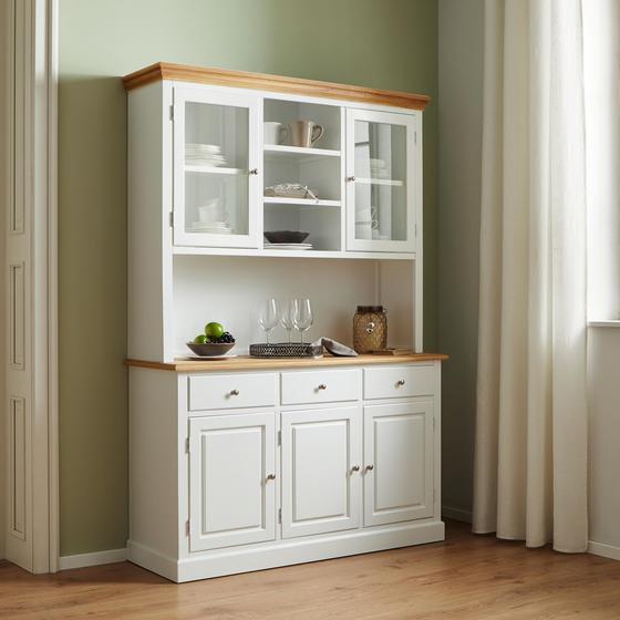 Kredenc Brigitte - bílá/barvy pinie, Moderní, kov/dřevo (131/192/44cm) - Modern Living