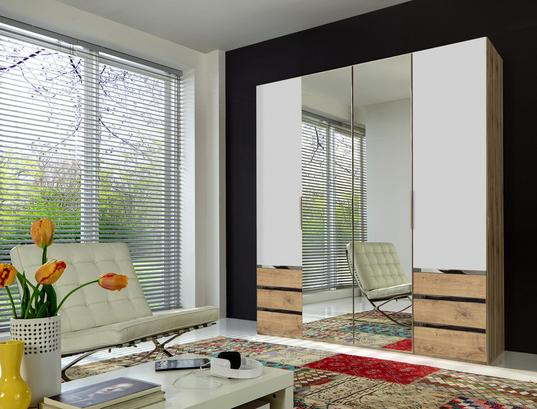 Viertüriger Kleiderschrank in Eiche Dekor und Weiß mit Spiegel