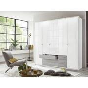 Drehtürenschrank mit Laden 225cm Sumatra, Weiß/Grau - Weiß/Grau, KONVENTIONELL, Holzwerkstoff (225/210/58cm) - Livetastic