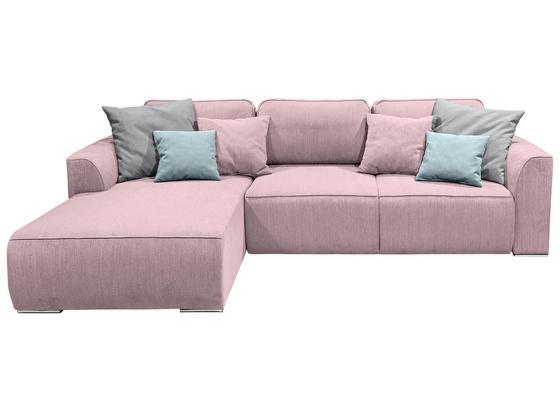 Wohnlandschaft In L-Form Lazy Ecke ca. 206x294 cm - Pink/Hellrosa, Design, Holzwerkstoff/Textil (206/294cm) - Carryhome