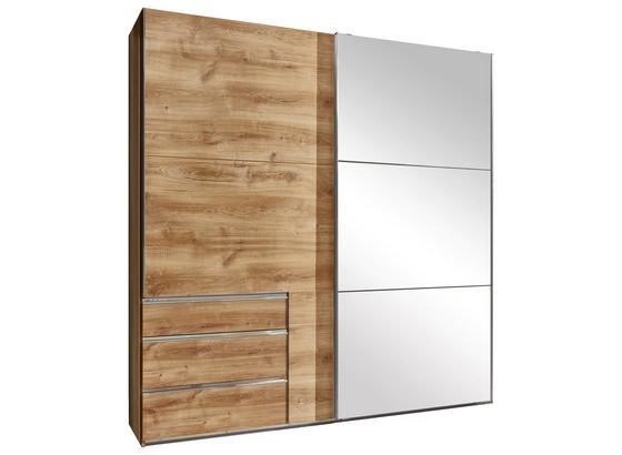 Schwebetürenschrank mit Spiegel 200cm Level 36a, Eiche Dekor - Eichefarben, MODERN, Glas/Holzwerkstoff (200/216/65cm)
