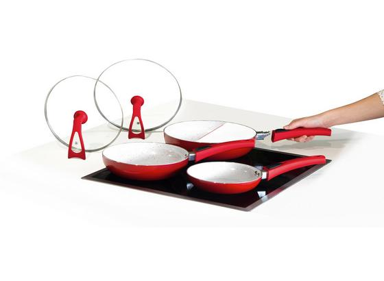 Pfannenset Duo Magic Premium 5-teilig - Transparent/Rot, KONVENTIONELL, Glas/Keramik (48,5/28/15,5cm) - Mediashop