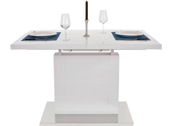 Výsuvný Stôl Raymond 120 Az - biela/farby ušľachtilej ocele, Moderný, kov/kompozitné drevo (120-160/76/80cm)