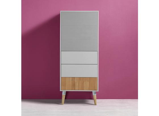 Komoda Evlyn - farby borovice/sivá, Moderný, kov/drevo (55/136/45cm) - Modern Living