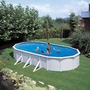 Stahlwandpool Set Steely De Luxe Oval 730 X 360 X 120cm - Weiß, MODERN, Metall (730/360/120cm)