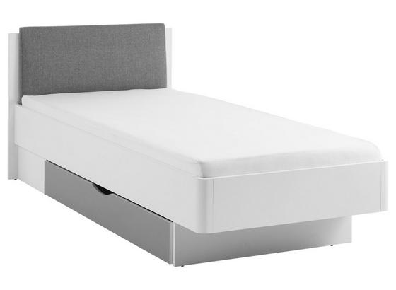 Bett Yoris 90x200 cm Weiß/Grau - Schwarz/Weiß, Design, Holzwerkstoff/Textil (101,6/84/212,7cm) - Livetastic