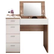 Schminktisch Make Up B: 90 cm Weiß - Weiß/Sonoma Eiche, Design, Glas/Holzwerkstoff (90/82,5/42cm) - Xora