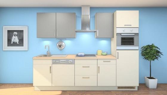 Küchenblock Norma 280 cm Magnolia/schiefergrau - Eichefarben/Magnolie, MODERN, Holzwerkstoff (280cm) - Vertico