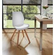 Stuhl Göteborg Weiß - Weiß/Naturfarben, MODERN, Holz/Kunststoff (57/87/48cm)
