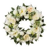 Kranz Rosenkranz D: 62 cm Weiß - Weiß, Trend, Kunststoff (62cm)