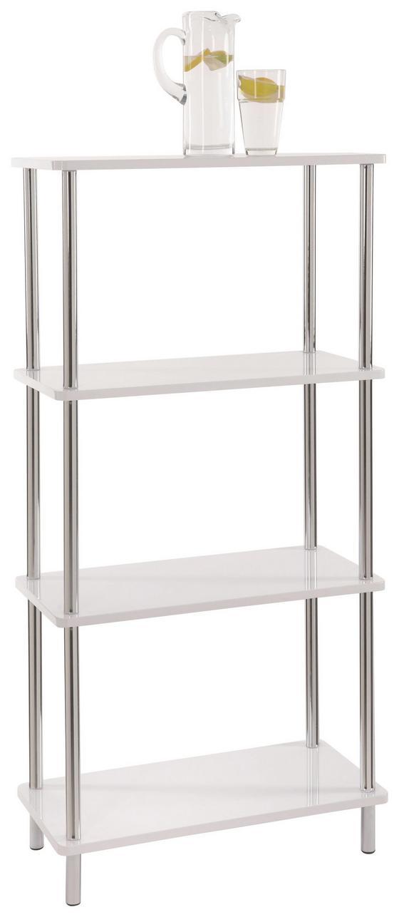 Polc Tim 2 - Króm/Fehér, modern, Faalapú anyag/Műanyag (60/120/30cm)