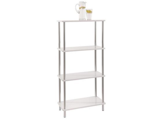 Regál Tim 2 - bílá/barvy chromu, Moderní, kov/kompozitní dřevo (60/120/30cm)