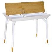 Schreibtisch mit Stauraum B 105cm H76cm Bartani Weiß/Eiche - Eichefarben/Weiß, Basics, Holzwerkstoff/Metall (105/76/55cm) - MID.YOU