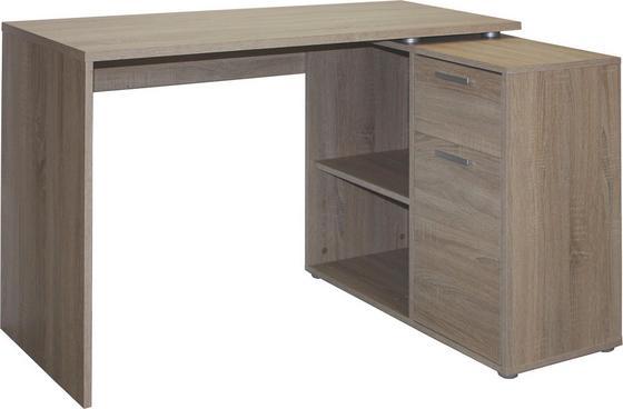 Psací Stůl Lucas - barvy dubu, Moderní, dřevěný materiál/umělá hmota (117/71/75/80cm)