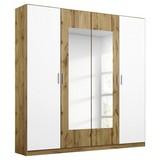 Drehtürenschrank mit Spiegel 181cm Borneo, Eiche Dekor/Weiß - Eichefarben/Weiß, Basics, Holzwerkstoff (181/210/54cm) - MID.YOU