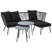 Záhradní Sedačka Charlie - černá/tmavě šedá, Moderní, kov/textilie - Modern Living