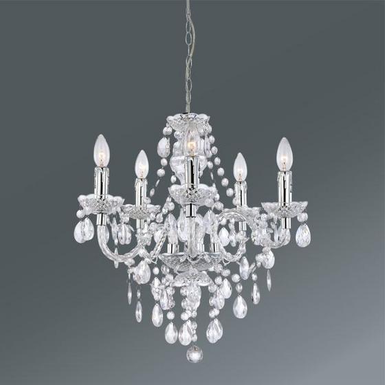 ZÁVESNÁ LAMPA ISABELLA - farby chrómu/číre, Romantický / Vidiecky, umelá hmota/kov (149cm) - MÖMAX modern living