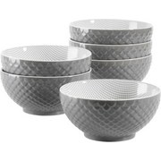 Schüsselset Telde 6-Tlg. - Grau, Basics, Keramik (41,3/26,6/32,6cm)
