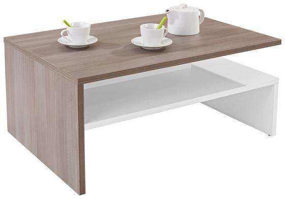 Dohányzóasztal Laura - tölgy színű/fehér, modern, faanyagok (90/42/60cm)
