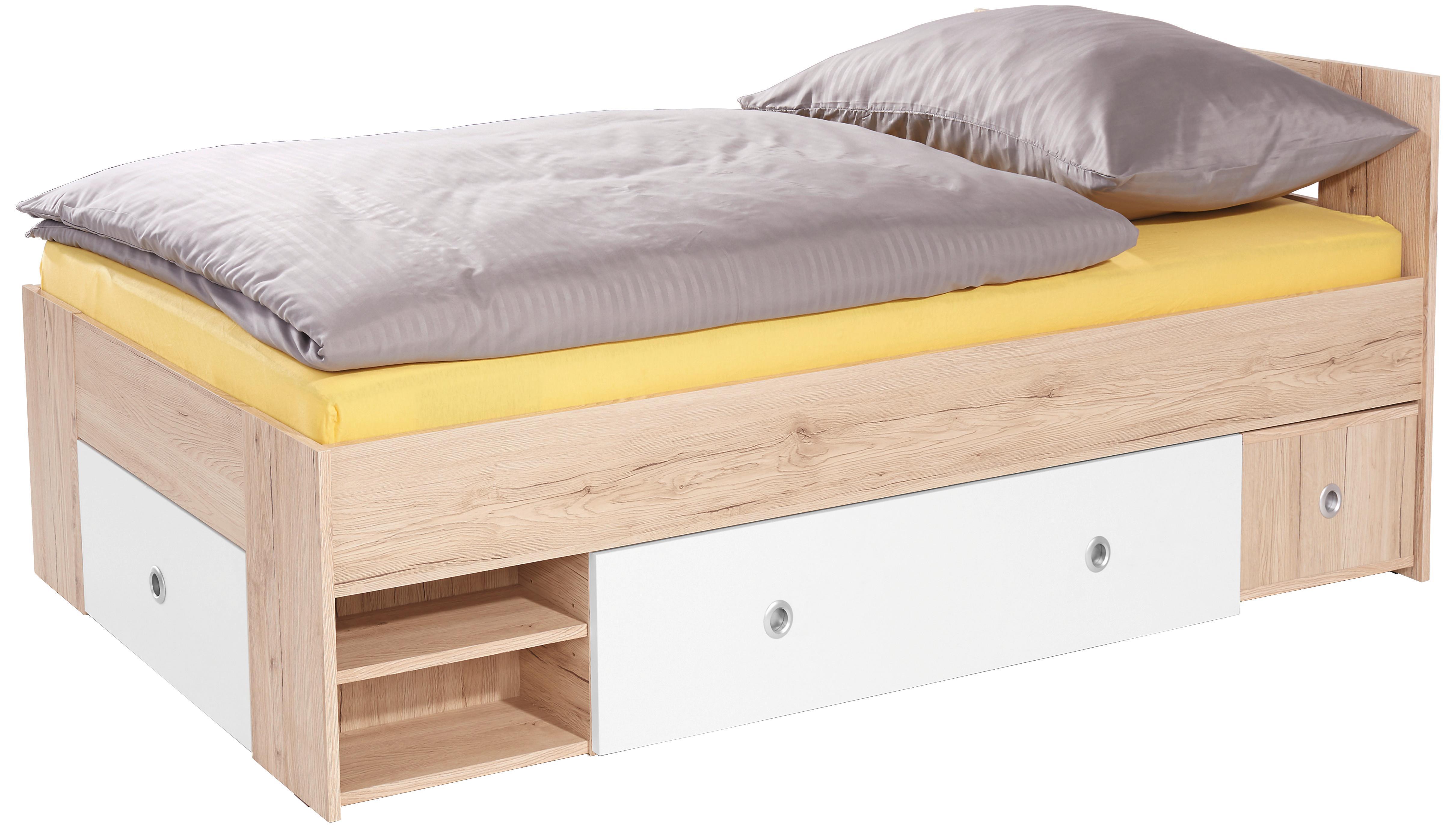 Ágykeret Azurro - tölgy színű/fehér, modern, faanyagok (204/75/95cm)