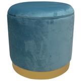 Hocker Velvet B: 35 cm Blau - Blau/Goldfarben, MODERN, Holzwerkstoff/Textil (35/35/35cm)