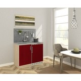 Miniküche B: 100 cm Rot/Eiche - Edelstahlfarben/Eichefarben, MODERN, Holzwerkstoff/Metall (100cm) - MID.YOU