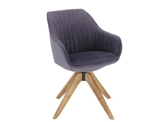 Židle S Područkami Chill - šedá/barvy dubu, dřevo/textil (60/83/65cm) - Modern Living