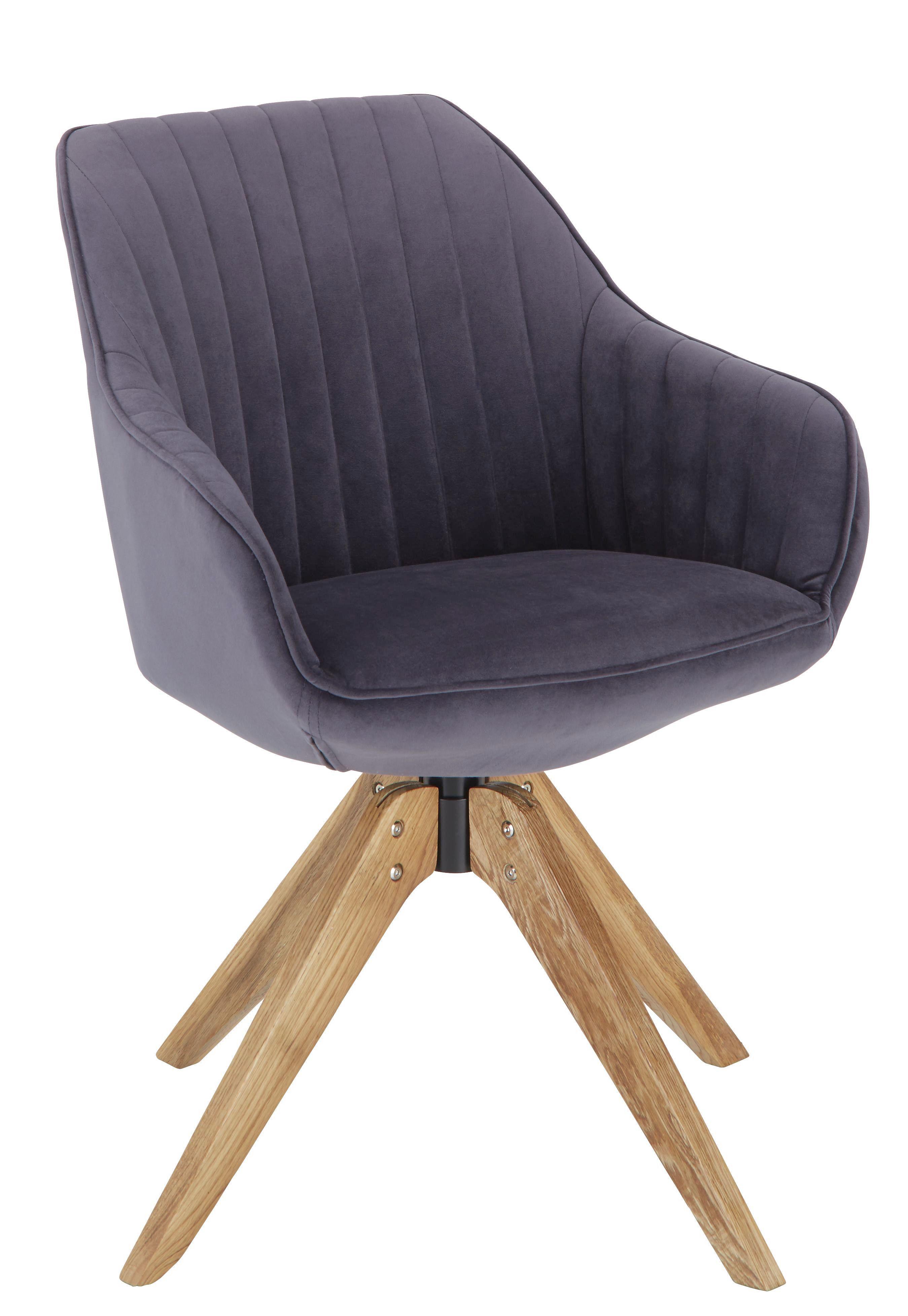Židle S Područkami Chill - šedá/barvy dubu, dřevo/textilie (60/83/65cm) - Modern Living