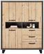 Komoda Highboard Azara - farby smreku/tmavosivá, Štýlový, umelá hmota/kov (124,5/154,5/41,5cm) - Modern Living