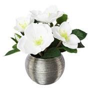 Kunstblume Christrose 'bianca' - Silberfarben/Braun, Basics, Keramik/Kunststoff (19cm)