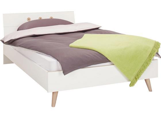 Postel Billund - bílá/barvy dubu, Moderní, dřevo/kompozitní dřevo (140/200cm) - Modern Living