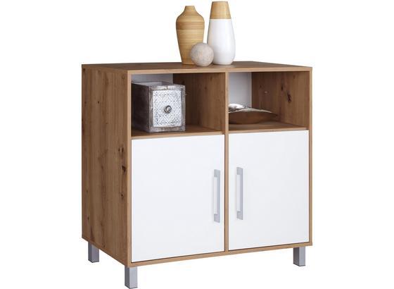 Kommode Box B:98cm Artisan Eiche /Weiß - Eichefarben/Alufarben, MODERN, Holzwerkstoff (99/85/40cm)