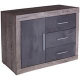 Komoda Frame - bílá/barvy dubu, Konvenční, kompozitní dřevo (122/75/42cm)