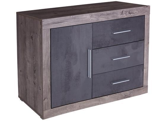 KOMODA FRAME - bílá/tmavě šedá, Konvenční, kompozitní dřevo (122/75/42cm)