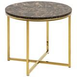 Beistelltisch Alisma B: 50 cm Marmor Braun - Goldfarben/Braun, Trend, Holzwerkstoff/Metall (50/50/43cm) - Carryhome