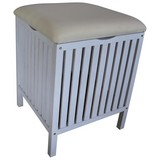 Wäschetonne/ Hocker Classic B: 39 cm White Wash - Weiß, Basics, Holz/Kunststoff (39/52/39cm)