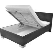 Polsterbett mit Bettkasten 120x200 Como, Grau - Chromfarben/Weiß, Holz/Textil (214/142/97cm)