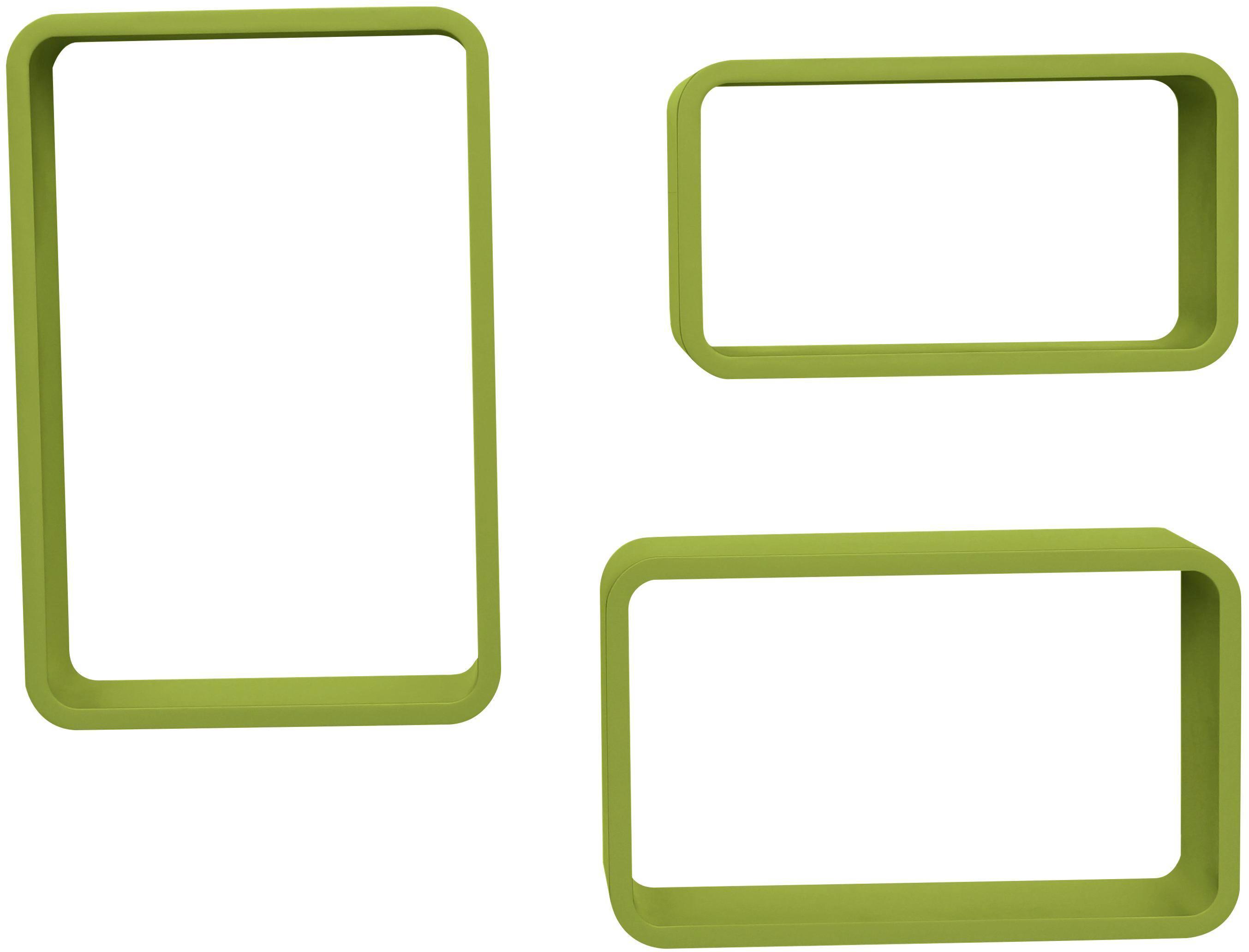 Falipolc Sven - zöld, modern, faanyagok (45/40/35/30/25/20/11cm) - MÖBELIX