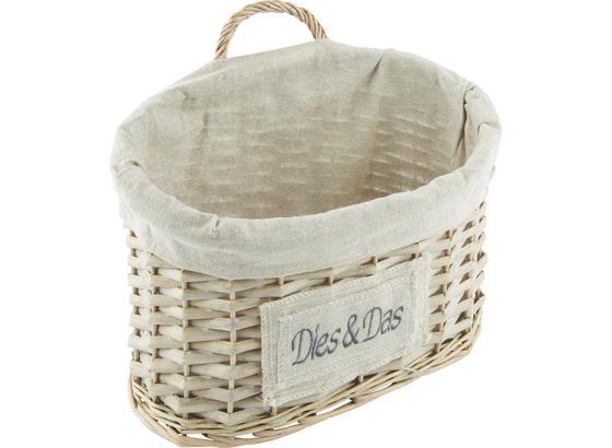 Košík Bretagne - prírodné farby/sivá, Romantický / Vidiecky, drevo/prírodné materiály (35/24/20cm) - Mömax modern living