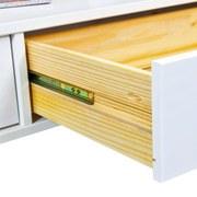 Couchtisch Echtholz/Glasplatte + Schubladen Provence, Weiß - Weiß, MODERN, Glas/Holz (115/45/60cm)