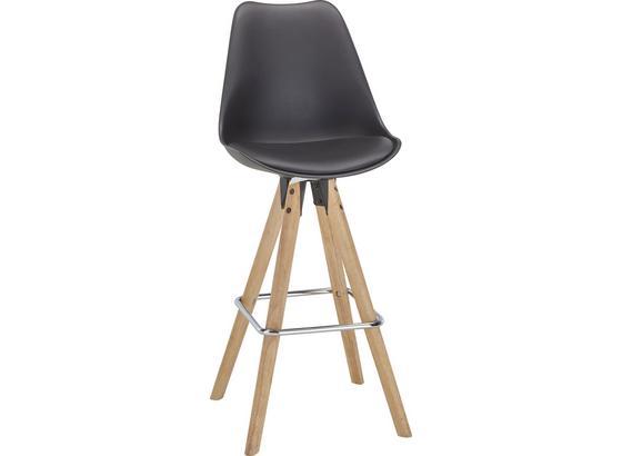 Barová Židle Durham - černá/hnědá, Moderní, kov/dřevo (48,5/111,5/55cm)