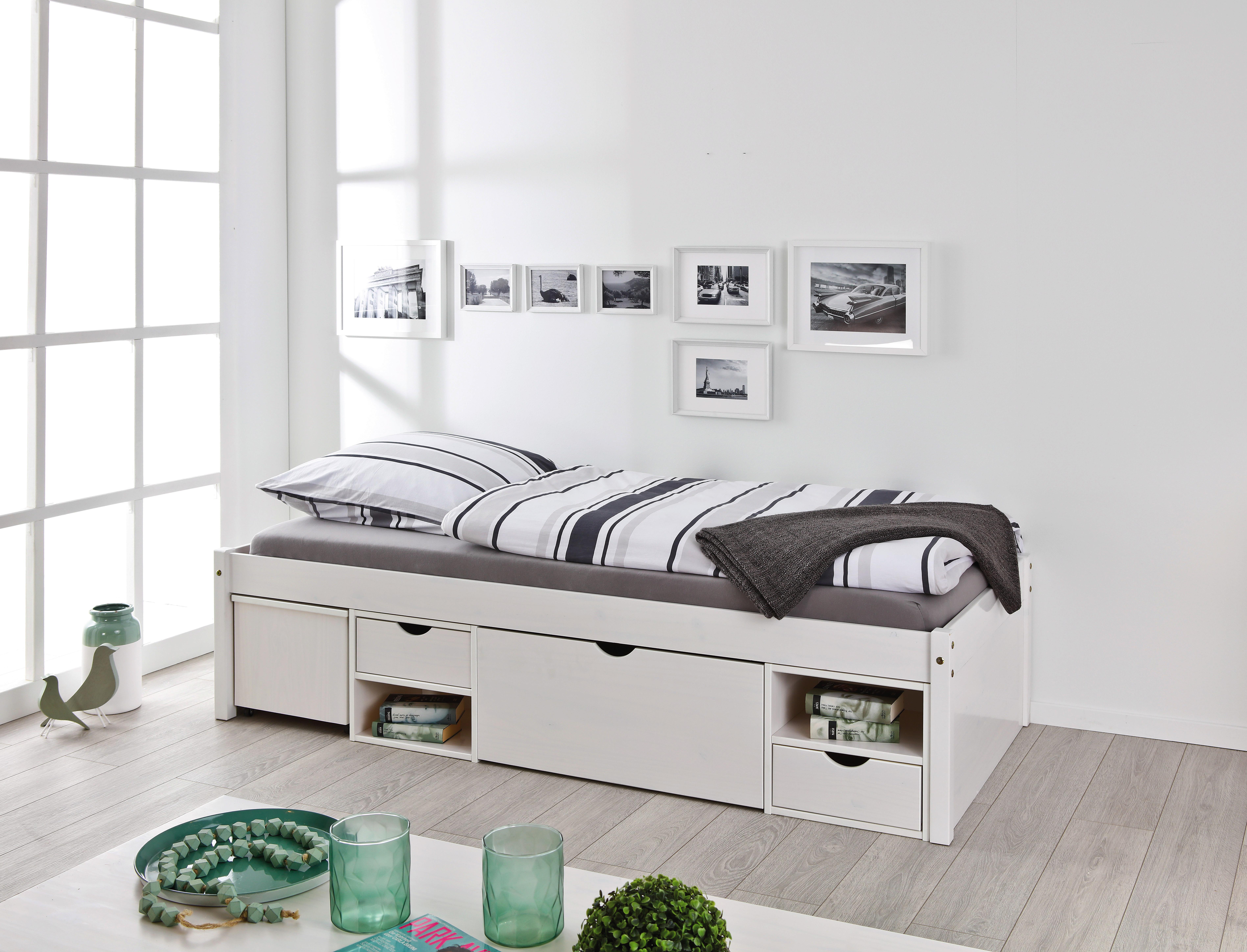 Bettanlage inkl. Nachtkästchen Weiß