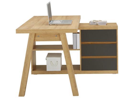 Rohový Písací Stôl Riga - farby dubu/antracitová, Moderný, kompozitné drevo (135/75/114,5cm) - Premium Living