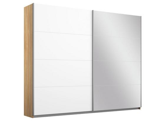 Schwebetürenschrank mit Spiegel 226cm Belluno, Weiß Dekor - Weiß/Sonoma Eiche, MODERN, Holzwerkstoff (226/210/62cm)
