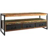 Lowboard Faro B: 155 cm Recyclingholz - Multicolor/Schwarz, Basics, Holz/Metall (155/55/40cm)