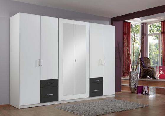Sechstüriger Kleiderschrank in Weiß und Graphit Dekor mit Schubladen