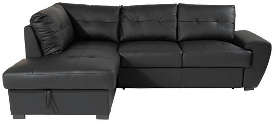 Sarokgarnitúra Burner Ii - fekete, modern, bőr/textil (174/244cm)