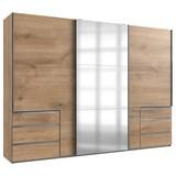 Schwebetürenschrank mit Spiegel 300cm Level 36a, Eiche Dekor - Eichefarben, MODERN, Glas/Holzwerkstoff (300/216/65cm) - MID.YOU