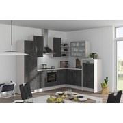 Eckküche Fargo 285x220cm Schwarzb./Seidengrau - Schwarz/Weiß, MODERN, Holzwerkstoff (285/220cm) - Vertico