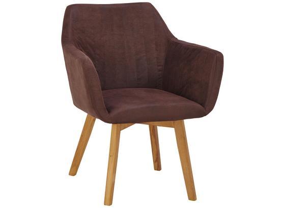 Stuhl Vera mit Armlehne - Eichefarben/Braun, KONVENTIONELL, Holz/Textil (62/84/60cm)